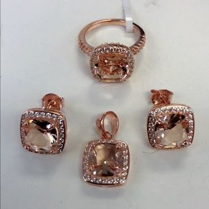 Jewelry - sterling silver 925 simulated morganite sets